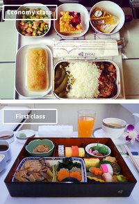 10 cнимков о том, чем отличается еда в эконом-классе от первого класса разных авиакомпаний