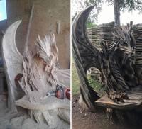 В Германии мужчина вырезал бензопилой фантастическую скамью в стиле «Игры престолов»